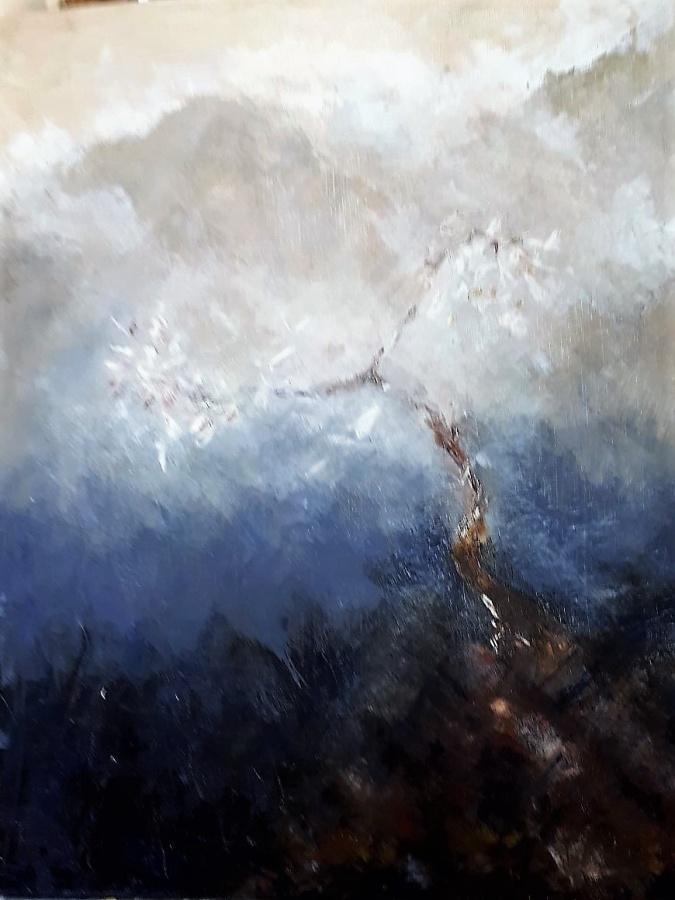JENNIFER PRICE;  Misty Mountains40cms (W) X 50cms (L)Oil Paint2020