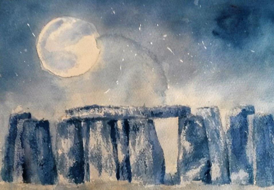 JENNIFER PRICE;  Stonehenge23.5cms (W) X 32cms (L)Watercolour2020