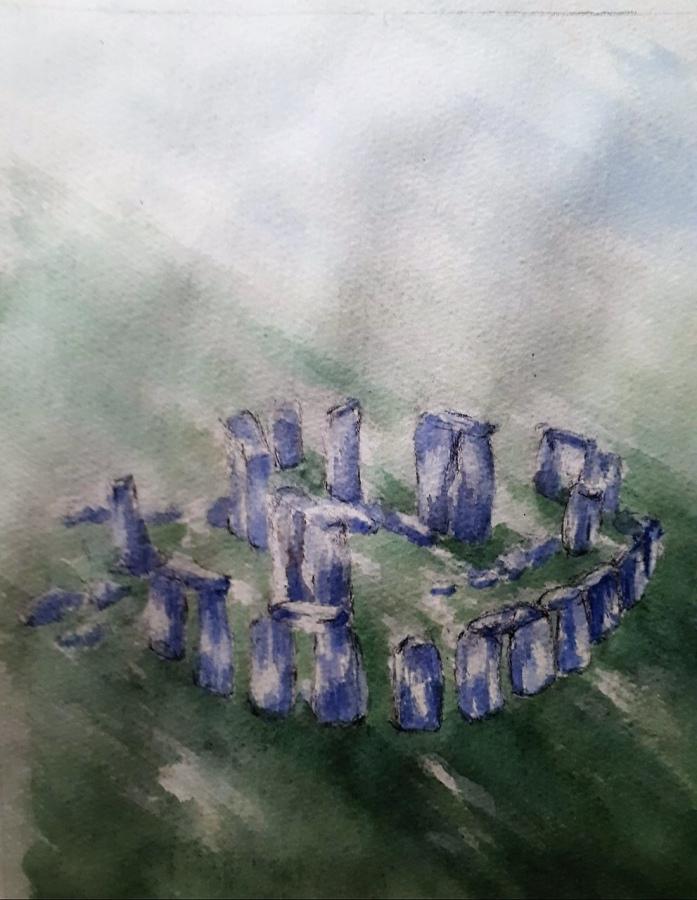 JENNIFER PRICE;  Ariel Stonehenge22cms (W) X 26cms (L)Watercolour2020