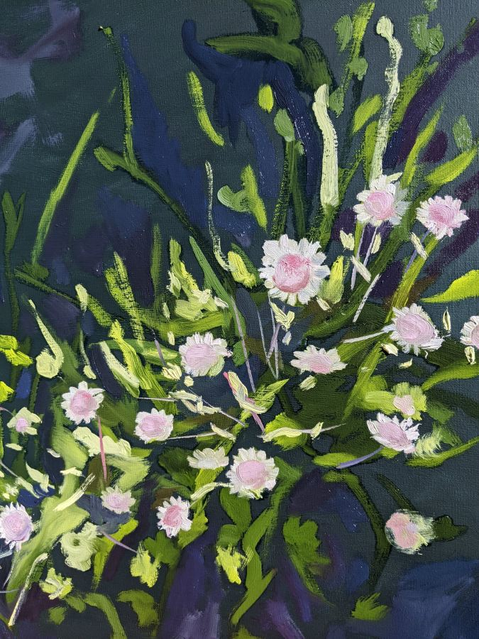 Jennifer Buick:  Pink Flannel flowers610 x 610mmAcylic and oil on canvasFeb 2021