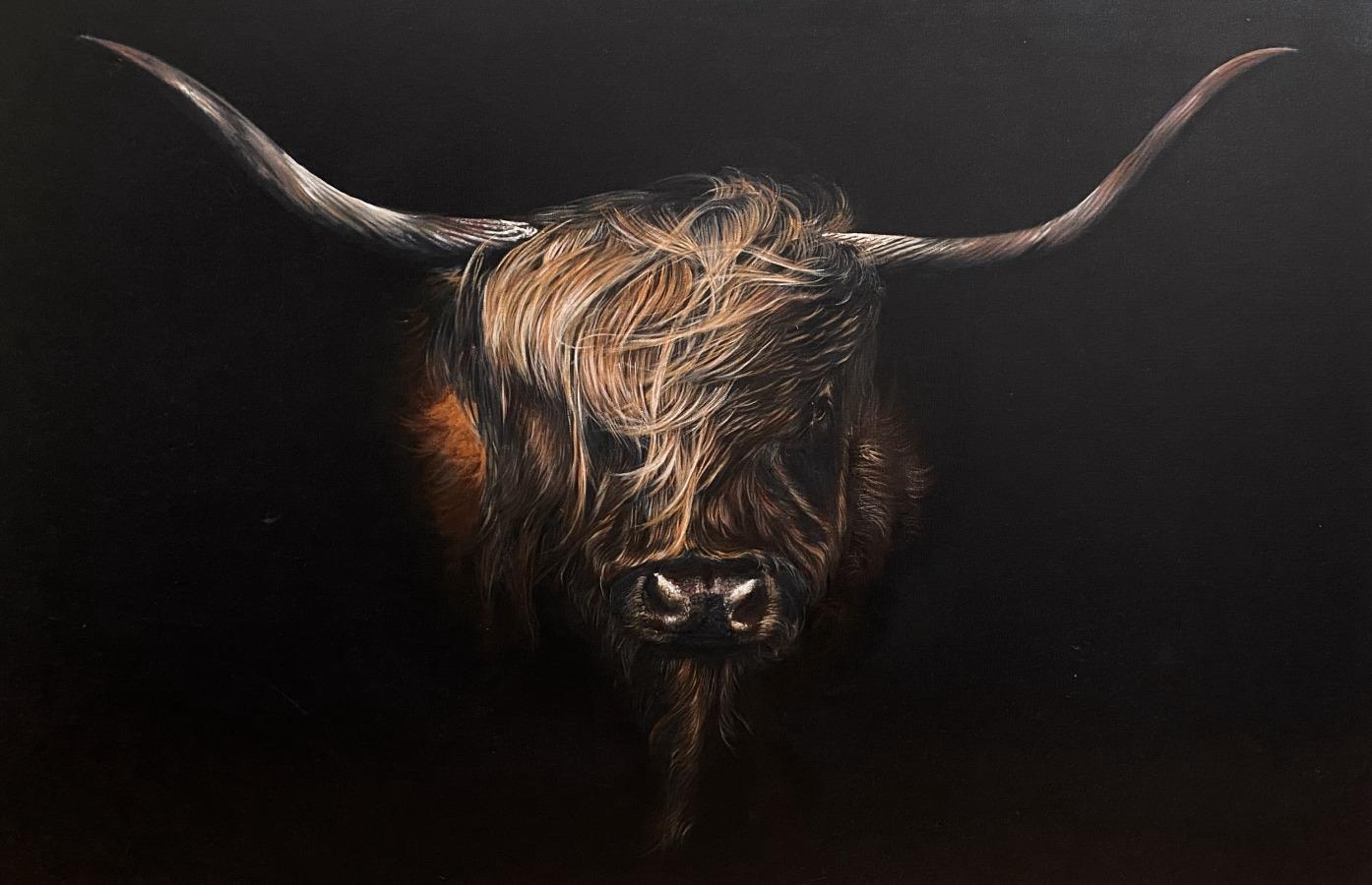 USHA BACHHIL: Highland coo 260cmx91cmoil on canvas2020