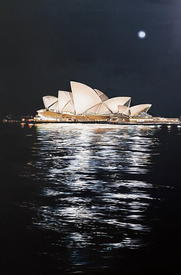USHA BACHHIL: Full moon over the opera house60cmx91cmoil on canvas2021