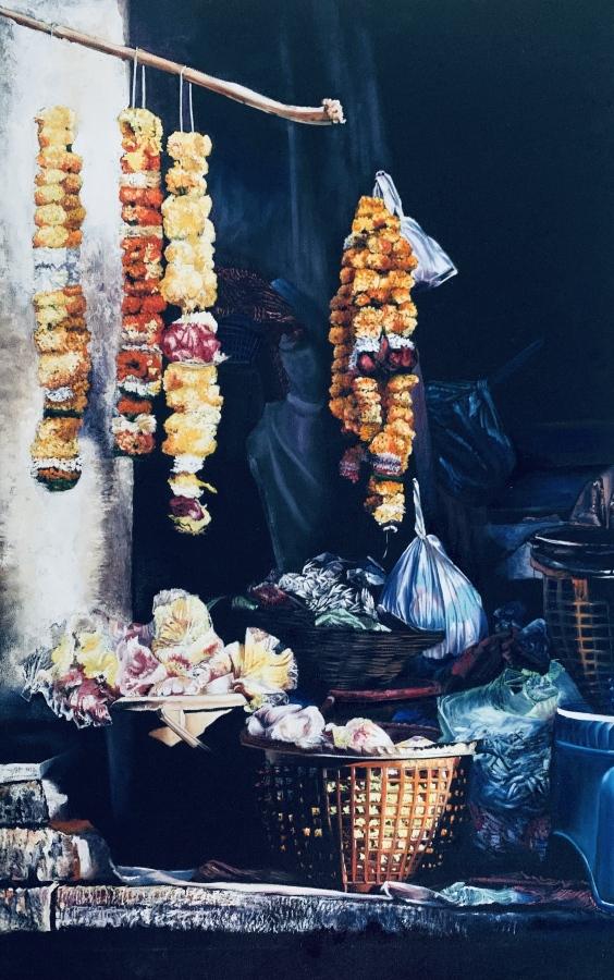 USHA BACHHIL: Consecaration96cmx60cmoil on canvas2020