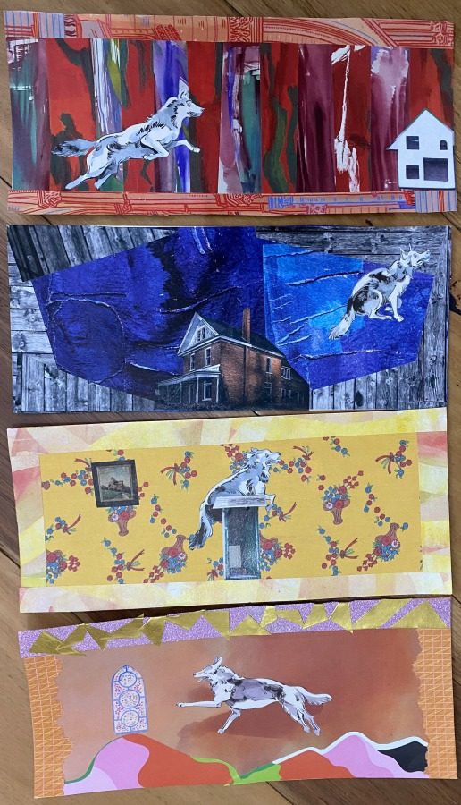 LAURA GREAVES: Dog seriesMixed media collage2021
