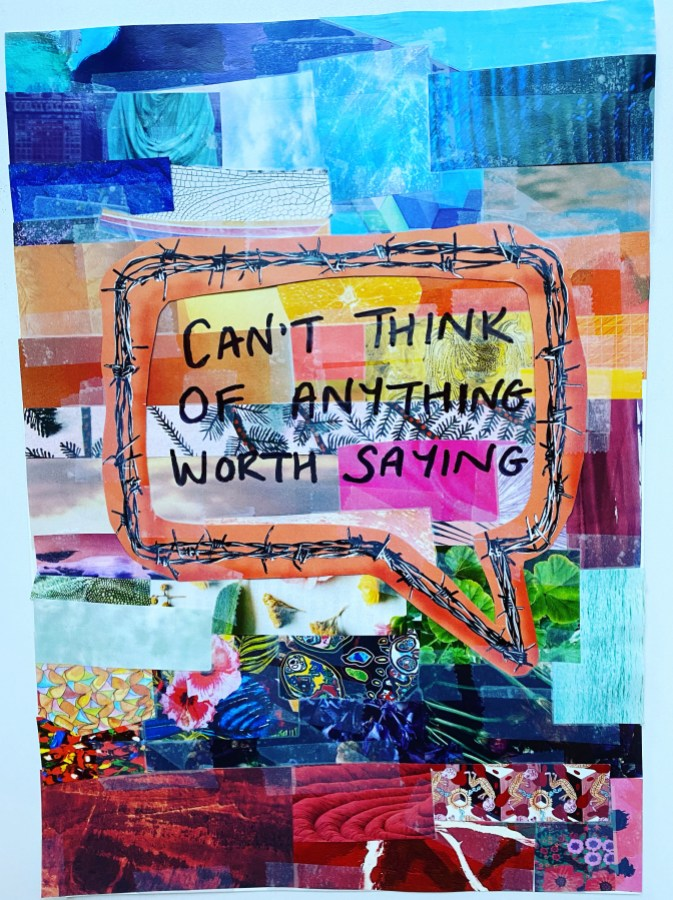 LAURA GREAVES: Can't thinkMixed media collage2021