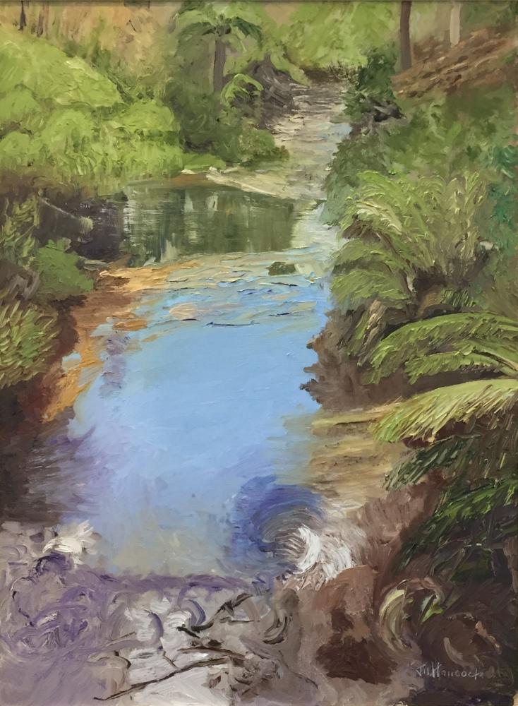 JAMS HANCOCK:  Reflections, Kedumba River. Oil