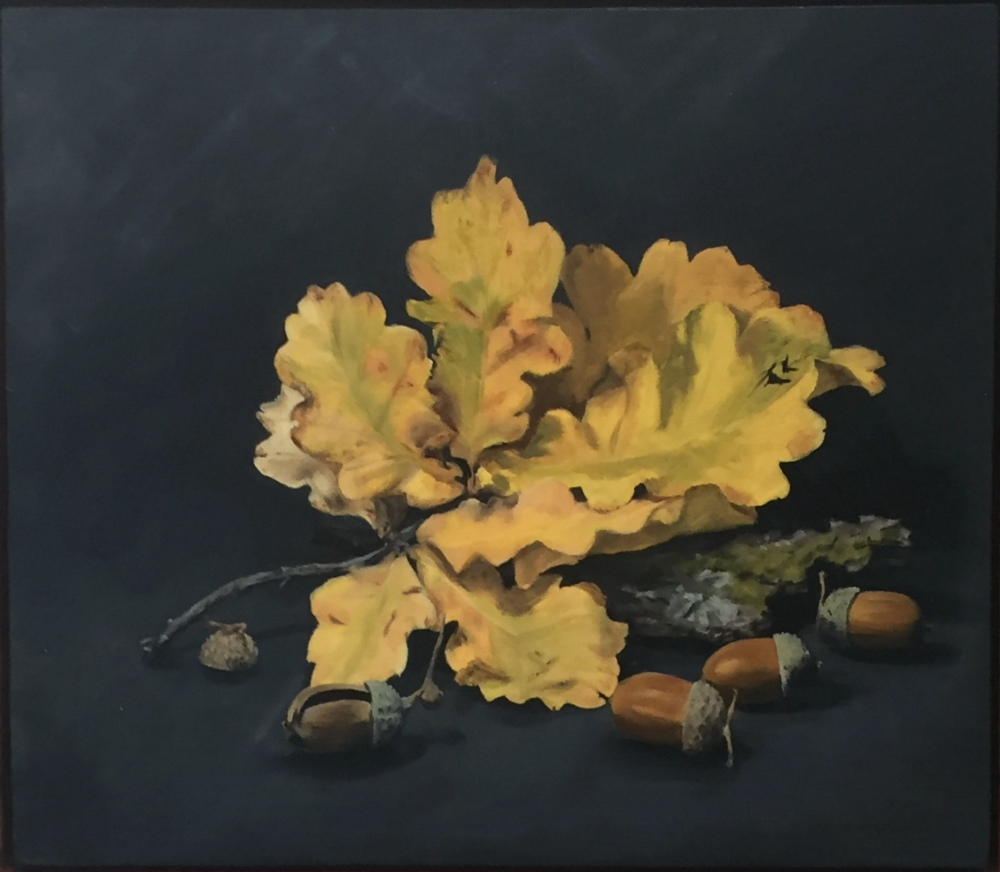 MARY MUSS:  Oak Leaves and Acorns. Oil